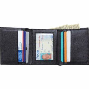 Embassy™ Men's Solid Genuine Buffalo Leather Tri-Fold Wallet