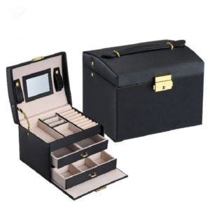FREE SHIPPING – Jewelry Box – Makeup case – Elegant European style COLOR: BLACK