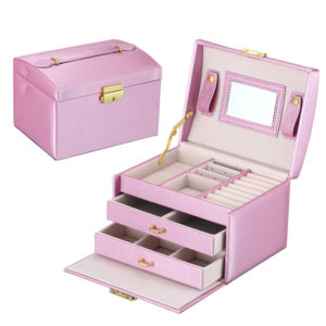 FREE SHIPPING – Jewelry Box – Makeup case – Elegant European style COLOR: LT. PINK