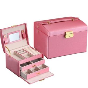 FREE SHIPPING – Jewelry Box – Makeup case – Elegant European style COLOR: ROSE