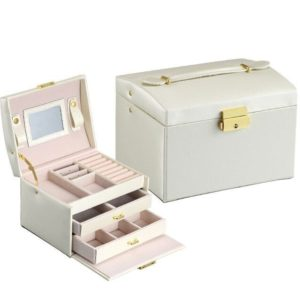 FREE SHIPPING – Jewelry Box – Makeup case – Elegant European style COLOR: WHITE